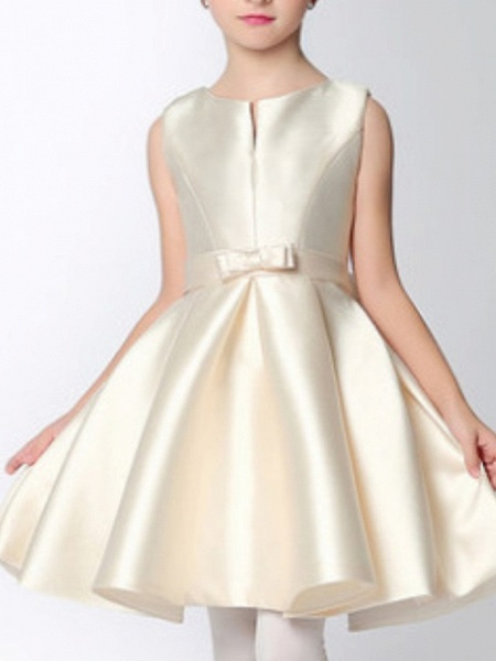 A-Line Knee Length Pageant Flower Girl Dresses - Polyester Sleeveless Jewel Neck With Bow(S)_5