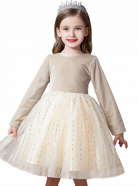 Princess / Ball Gown Knee Length Wedding / Party Flower Girl Dresses - Tulle / Velvet Long Sleeve Jewel Neck With Splicing / Paillette_5