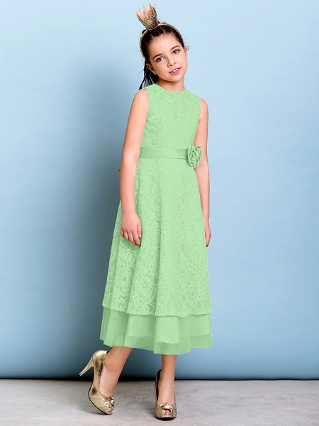 A-Line Jewel Neck Tea Length All Over Floral Lace Junior Bridesmaid Dress With Sash / Ribbon / Bow(S) / Flower / Natural_29