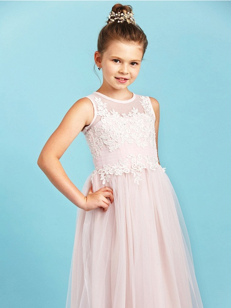 Princess / A-Line Jewel Neck Floor Length Tulle Junior Bridesmaid Dress With Pleats / Appliques / Wedding Party / See Through_5
