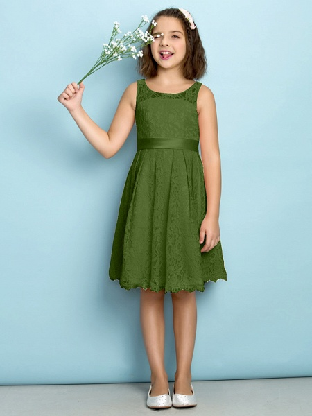 A-Line Scoop Neck Knee Length All Over Floral Lace Junior Bridesmaid Dress With Lace / Natural / Mini Me_39