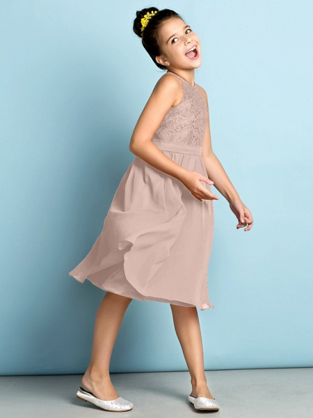 A-Line Jewel Neck Knee Length Chiffon / Lace Junior Bridesmaid Dress With Lace / Natural / Mini Me_18