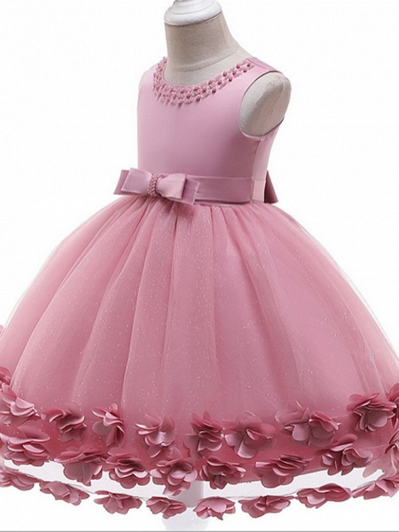Princess / Ball Gown Knee Length Wedding / Party Flower Girl Dresses - Tulle / Satin Chiffon Sleeveless Jewel Neck With Bow(S) / Beading / Appliques_5