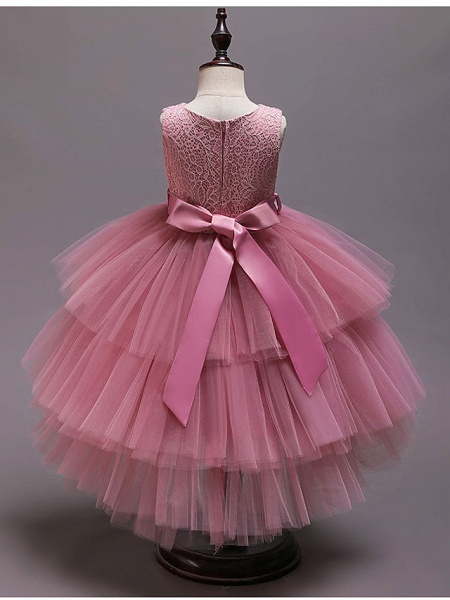 Princess Asymmetrical Wedding / Party / Pageant Flower Girl Dresses - Satin / Tulle Sleeveless Jewel Neck With Belt / Crystals / Rhinestones_9