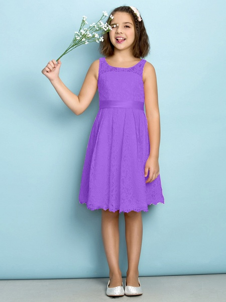 A-Line Scoop Neck Knee Length All Over Floral Lace Junior Bridesmaid Dress With Lace / Natural / Mini Me_29