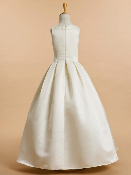 A-Line Ankle Length Wedding / First Communion Flower Girl Dresses - Satin Sleeveless V Neck With Bow(S)_3