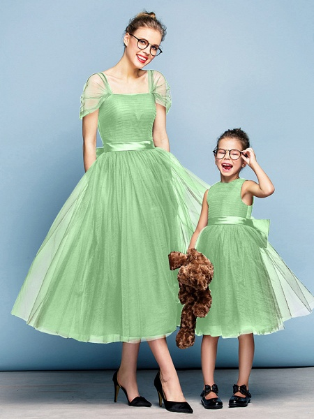 Princess Tea Length Party / Prom / Formal Evening Flower Girl Dresses - Tulle Short Sleeve Square Neck With Bow(S) / Ruched / Elegant_28