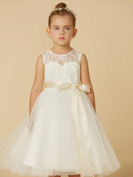 Princess Tea Length Wedding / First Communion Flower Girl Dresses - Lace / Tulle Sleeveless Jewel Neck With Sash / Ribbon / Bow(S)_6