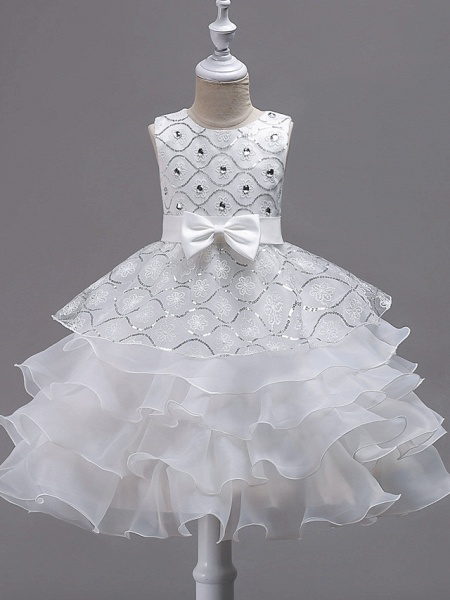Princess Midi Wedding / Birthday / Pageant Flower Girl Dresses - Organza / Satin Sleeveless Jewel Neck With Bow(S) / Embroidery / Crystals / Rhinestones_1