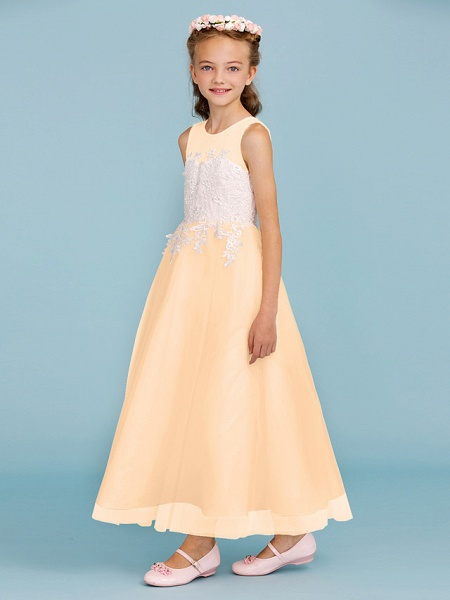 Princess / A-Line Jewel Neck Ankle Length Lace / Tulle Junior Bridesmaid Dress With Sash / Ribbon / Appliques / Wedding Party / Open Back_18