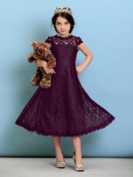 Princess / A-Line Jewel Neck Tea Length Lace Junior Bridesmaid Dress With Pleats / Natural_18