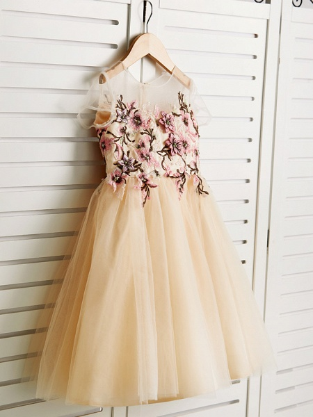 Princess Knee Length Wedding / Birthday / Pageant Flower Girl Dresses - Satin / Tulle Cap Sleeve Jewel Neck With Embroidery_3