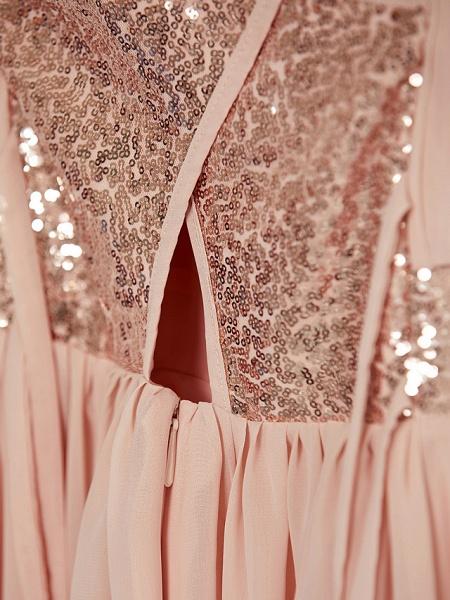 A-Line Jewel Neck Maxi Chiffon Junior Bridesmaid Dress With Lace / Sash / Ribbon_10