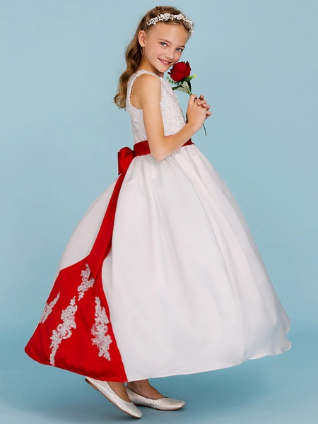 Ball Gown Crew Neck Ankle Length Lace / Satin Junior Bridesmaid Dress With Sash / Ribbon / Bow(S) / Beading / Color Block / Wedding Party_5
