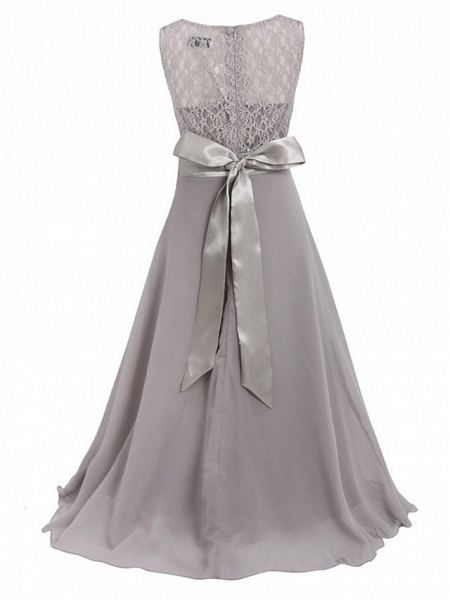 Princess / Ball Gown Maxi Party / Formal Evening / Pageant Flower Girl Dresses - Tulle / Poly&Cotton Blend Sleeveless Jewel Neck With Lace / Solid_16