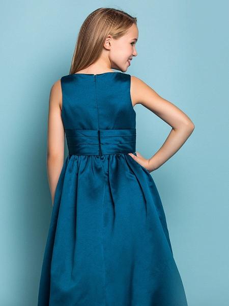 Princess / A-Line V Neck Floor Length Satin Junior Bridesmaid Dress With Sash / Ribbon / Criss Cross / Spring / Summer / Fall / Apple / Hourglass_6