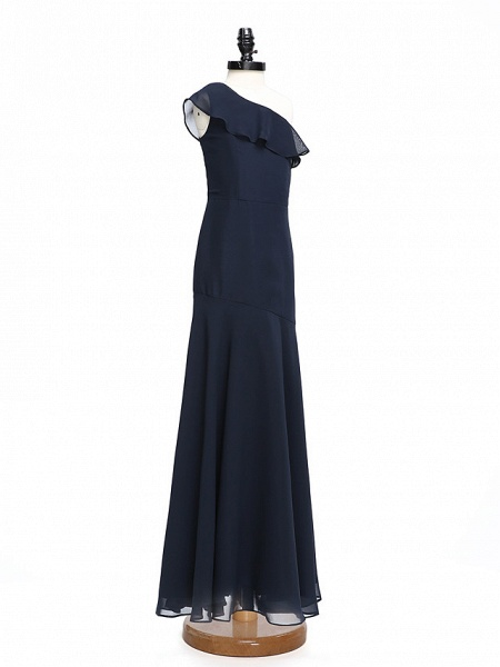 A-Line One Shoulder Floor Length Chiffon Junior Bridesmaid Dress With Ruffles / Natural_3