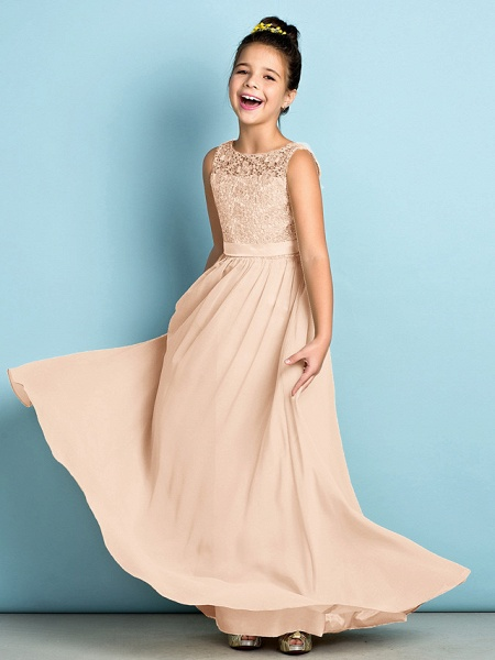 A-Line Scoop Neck Floor Length Chiffon / Lace Junior Bridesmaid Dress With Lace / Natural / Mini Me_43
