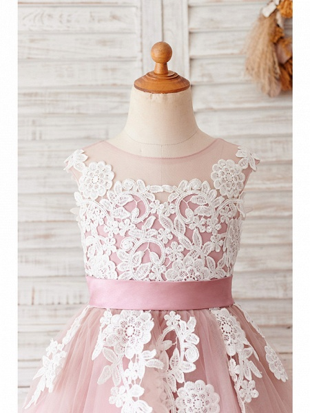Ball Gown Knee Length Wedding / Birthday Flower Girl Dresses - Lace / Tulle Sleeveless Jewel Neck With Belt / Buttons_3