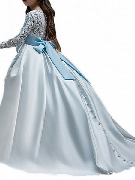 Ball Gown Court Train Party / Birthday Flower Girl Dresses - Poly Long Sleeve Jewel Neck With Lace / Bow(S) / Appliques_4