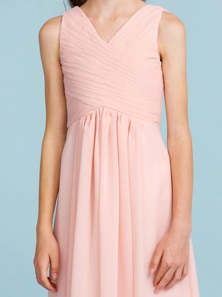 Sheath / Column V Neck Floor Length Chiffon Junior Bridesmaid Dress With Criss Cross / Pleats / Wedding Party / Open Back_8