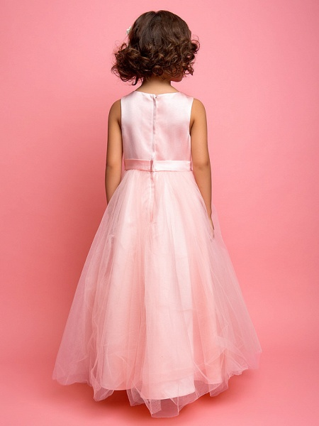 Princess / A-Line Ankle Length Satin / Tulle Sleeveless Jewel Neck With Sash / Ribbon / Bow(S) / Side Draping_3