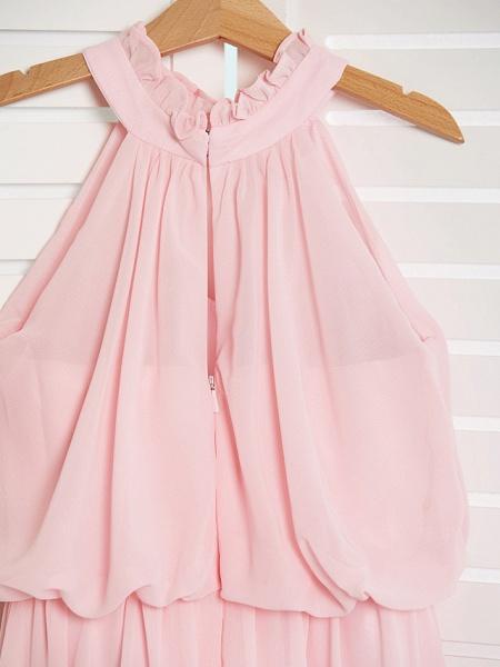 A-Line High Neck Floor Length Chiffon Junior Bridesmaid Dress With Ruffles / Ruching_5
