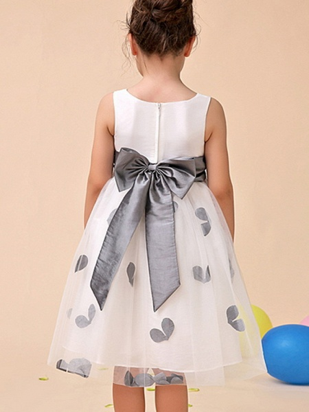 Ball Gown Ankle Length Party Flower Girl Dresses - Polyester Sleeveless Jewel Neck With Pattern / Print / Appliques_2