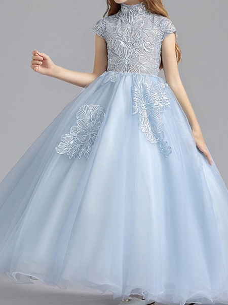 Ball Gown Floor Length Pageant Flower Girl Dresses - Polyester Short Sleeve High Neck With Ruching_3