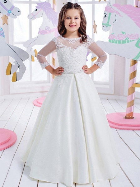 Princess Floor Length Wedding / Birthday / First Communion Flower Girl Dresses - Cotton / Nylon With A Hint Of Stretch / Lace / Mikado 3/4 Length Sleeve Jewel Neck With Lace / Appliques_1