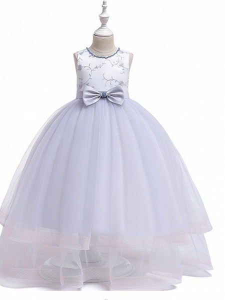 Princess Round Floor Length Cotton Junior Bridesmaid Dress With Bow(S) / Embroidery_2