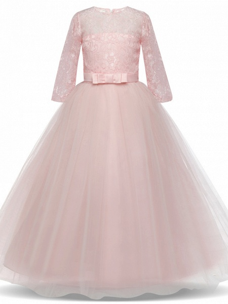 Princess Long Length Wedding / Party / Pageant Flower Girl Dresses - Lace / Tulle Half Sleeve Jewel Neck With Lace / Belt / Bow(S)_5