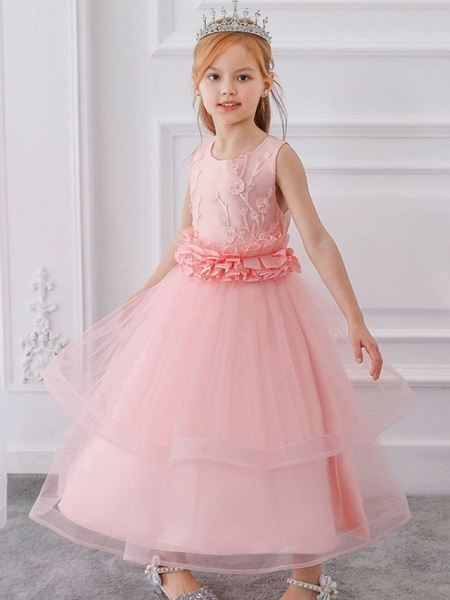 Princess / Ball Gown Ankle Length Wedding / Party Flower Girl Dresses - Tulle Sleeveless Jewel Neck With Sash / Ribbon / Bow(S) / Appliques_2