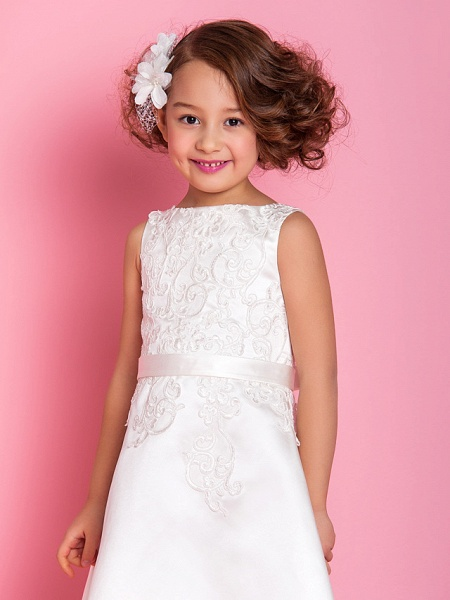 A-Line Tea Length Wedding / First Communion Flower Girl Dresses - Satin Sleeveless Scoop Neck With Bow(S) / Appliques / Spring / Summer / Fall / Winter_4