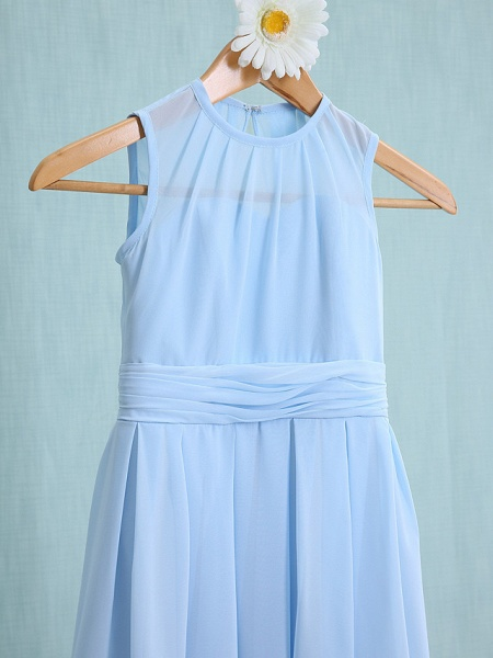 Sheath / Column Jewel Neck Knee Length Chiffon Junior Bridesmaid Dress With Ruched / Natural_3