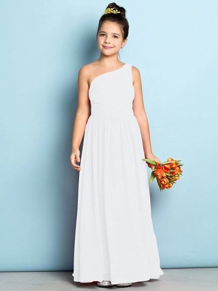 A-Line One Shoulder Ankle Length Chiffon Junior Bridesmaid Dress With Side Draping / Natural / Mini Me_18