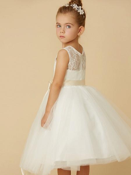 Princess Tea Length Wedding / First Communion Flower Girl Dresses - Lace / Tulle Sleeveless Jewel Neck With Sash / Ribbon / Bow(S)_7