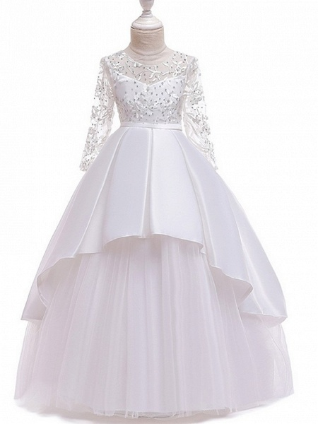 Princess Round Floor Length Cotton Junior Bridesmaid Dress With Bow(S) / Pleats / Crystals_4