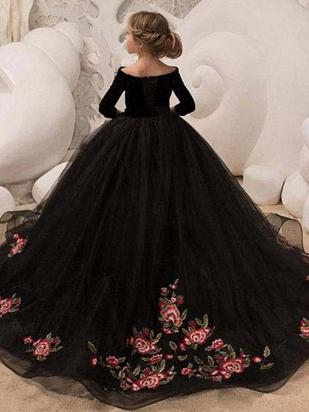 Ball Gown Floor Length Wedding / Party Flower Girl Dresses - Tulle Sleeveless Jewel Neck With Bow(S)_1