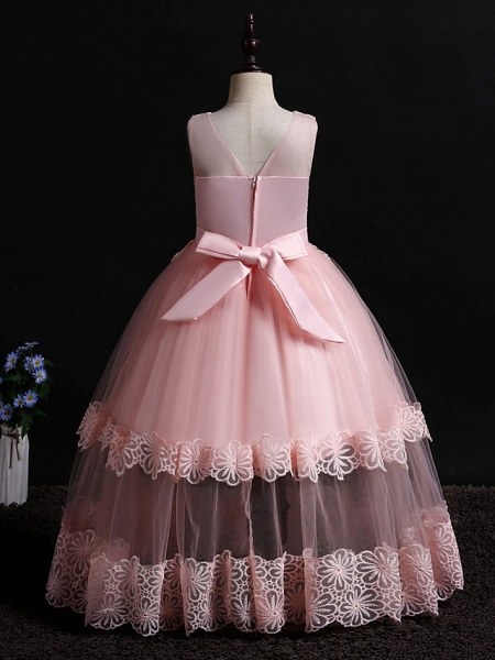 Princess Floor Length Wedding / Birthday Lace / Tulle / Polyester Sleeveless Jewel Neck With Lace / Bow(S) / Pearls_8