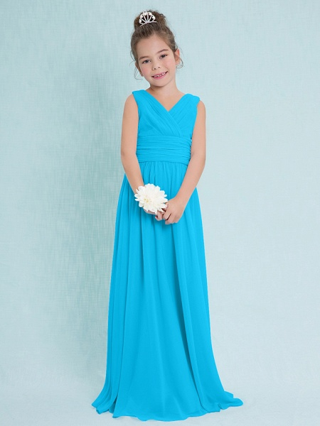 Sheath / Column V Neck Floor Length Chiffon Junior Bridesmaid Dress With Criss Cross / Ruched / Natural_31
