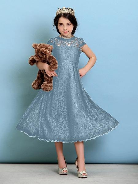Princess / A-Line Jewel Neck Tea Length Lace Junior Bridesmaid Dress With Pleats / Natural_32