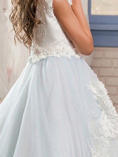 Ball Gown Floor Length Wedding / Event / Party Flower Girl Dresses - Poly Sleeveless Jewel Neck With Lace / Appliques_4