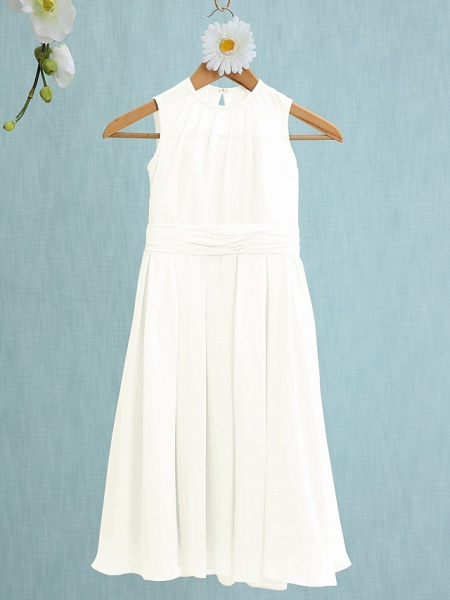Sheath / Column Jewel Neck Knee Length Chiffon Junior Bridesmaid Dress With Ruched / Natural_18
