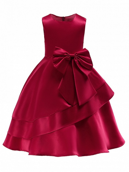 Ball Gown Knee Length Wedding / Party Flower Girl Dresses - Tulle Sleeveless Jewel Neck With Bow(S) / Tier_1