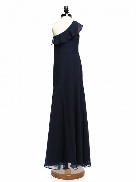 A-Line One Shoulder Floor Length Chiffon Junior Bridesmaid Dress With Ruffles / Natural_2