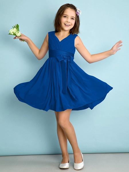 A-Line V Neck Knee Length Chiffon Junior Bridesmaid Dress With Bow(S) / Criss Cross / Natural_33
