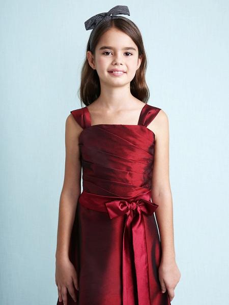 Princess / A-Line Straps Floor Length Taffeta Junior Bridesmaid Dress With Sash / Ribbon / Bow(S) / Ruched / Spring / Fall / Winter / Wedding Party / Natural_9