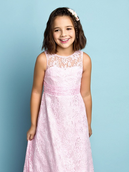 Sheath / Column Jewel Neck Floor Length Lace Junior Bridesmaid Dress With Lace / Natural / Mini Me_6