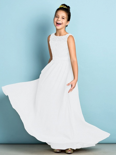 A-Line Scoop Neck Floor Length Chiffon / Lace Junior Bridesmaid Dress With Lace / Natural / Mini Me_20